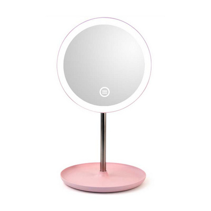 LED化妝鏡圓形帶燈USB梳妝鏡子 臺式床頭發光收納單面鏡定制