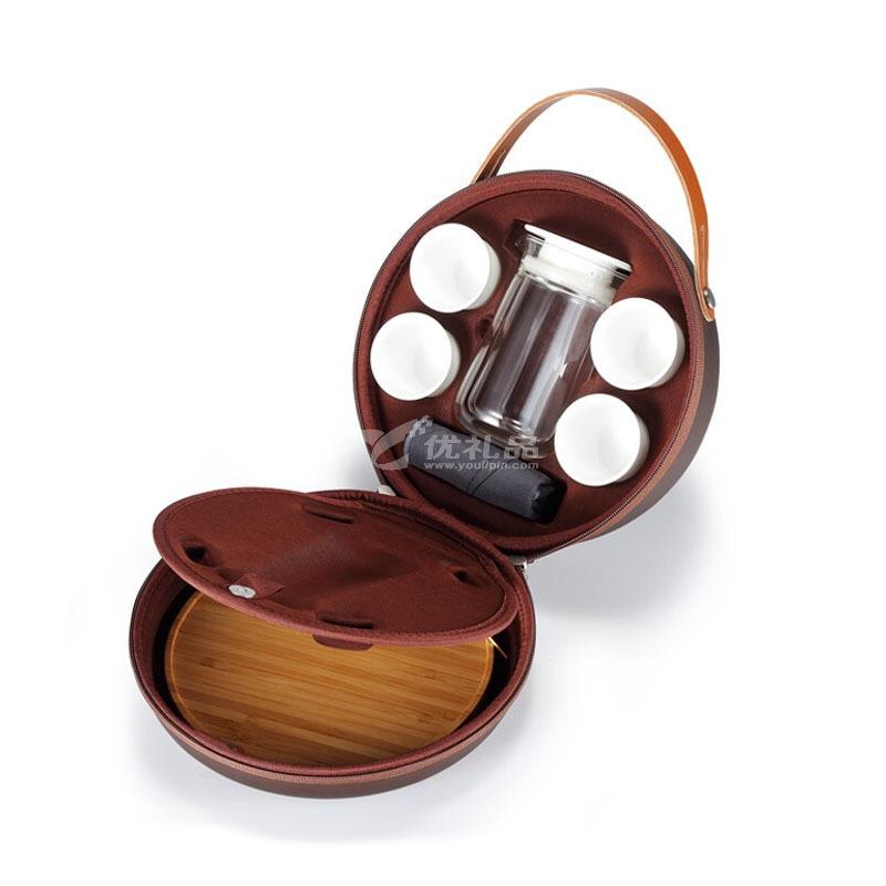 随圆便携旅行车载茶具一壶四杯耐热玻璃品茗杯陶瓷茶具定制