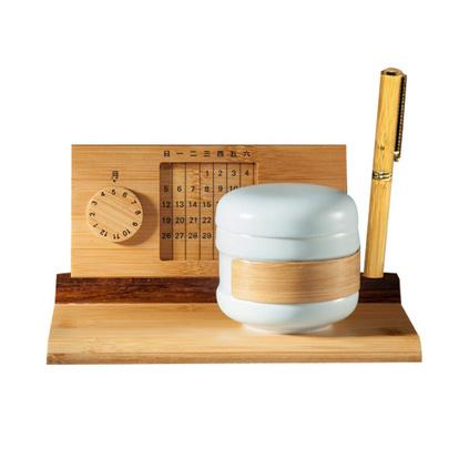 日新月异创新的万年历竹座 创意茶具办公礼品定制