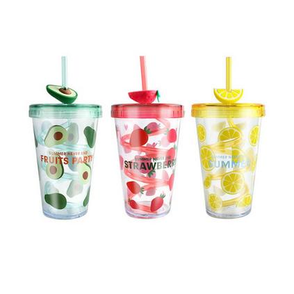 夏日旋转吸管杯儿童塑料水杯礼品杯子定制创意夏季随手杯定制