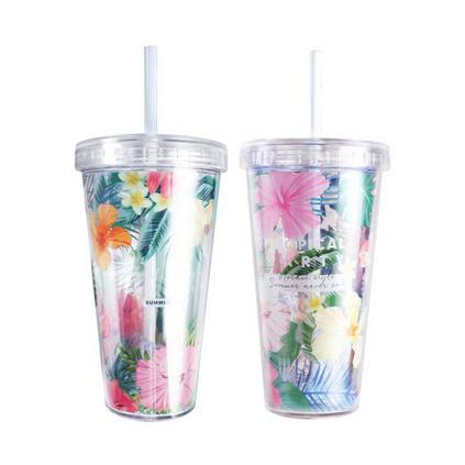 Girlwill夏日吸管杯塑料水杯创意学生随手杯子定制