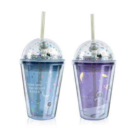 星际漫游双层吸管杯创意礼品定制塑料杯子儿童可爱水杯定制