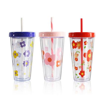 泫雅小花ins双层透明吸管杯子420ml 塑料水杯定制