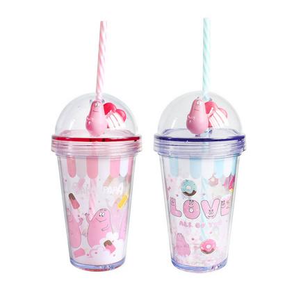 爆款塑料双层吸管杯创意礼品可爱随手杯子儿童水杯定制