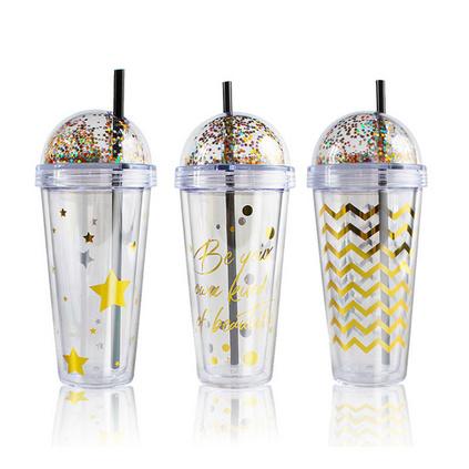 ins闪片烫金吸管双层杯420ml创意杯子透明水塑料杯定制
