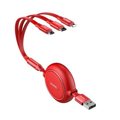 倍思 數據線三合一 蘋果/Type-c/安卓一拖三伸縮數據線手機充電器線適用定制 1.2m 紅色