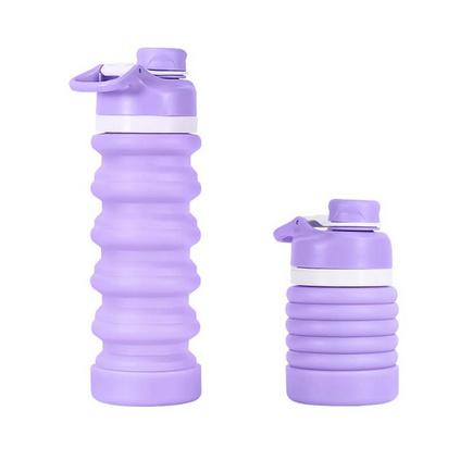 新款硅胶折叠水瓶 创意伸缩水壶 大号容量户外旅行车载杯硅胶水壶定制