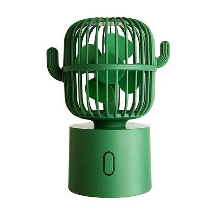 iDeaman仙人掌风扇 usb充电小风扇大风速三档调节桌面摇头小电扇便携式无线电扇定制