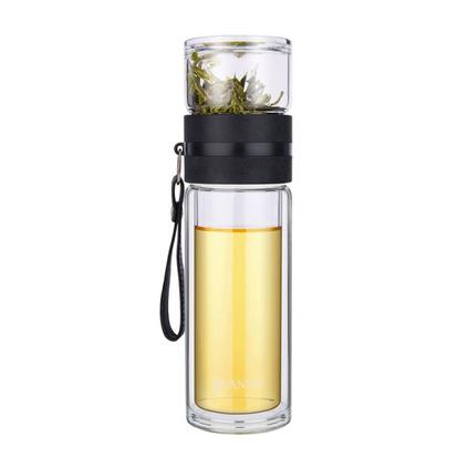 全语(QUANYU)茶水分离杯双层玻璃杯泡茶杯定制