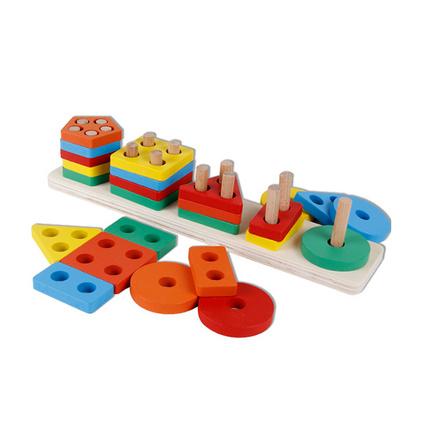 创意趣味配对形状配对套柱儿童益智积木几何套柱玩具定制