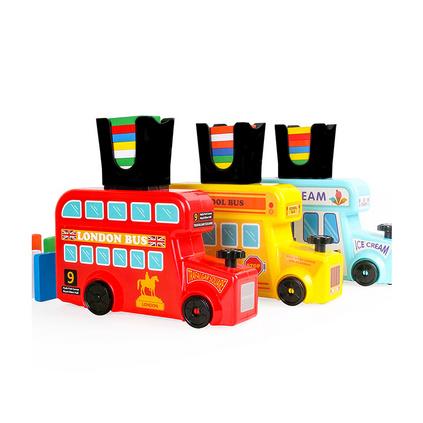 儿童多米诺骨牌投放车 电动自动发牌小火车益智接龙玩具定制