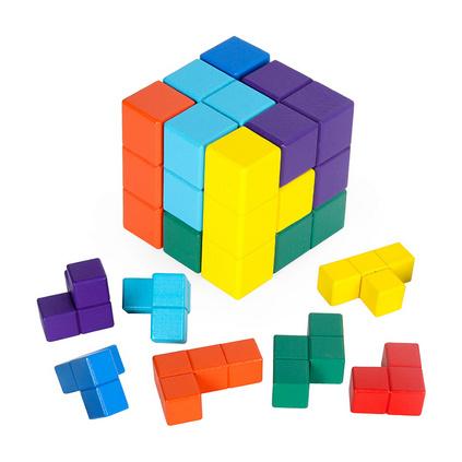 俄罗斯方块木制教具儿童益智玩具亲子游戏大颗粒积木玩具定制