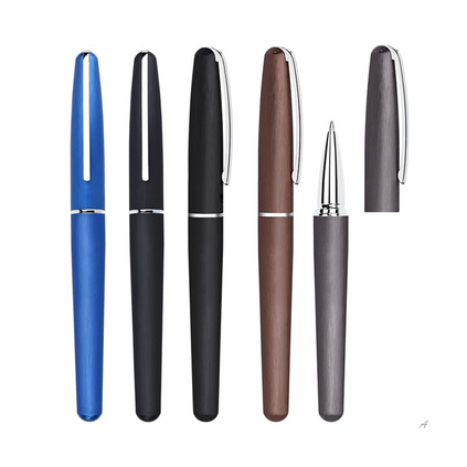 金属宝珠笔 笔杆拉丝复古广告笔 0.5mm中性笔高档签字笔定制