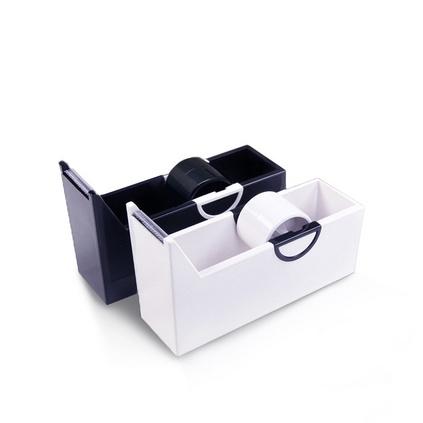 创意彩色胶带器 方形黑色胶带座 迷你塑料胶带切割器定制