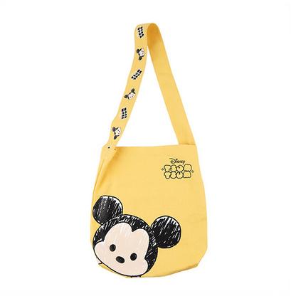 迪士尼米奇米妮斜挎帆布包上班學生大容量購物袋手提卡通小帆布袋定制