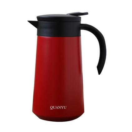 全语(QUANYU)800ml双层真空304不锈钢保温杯咖啡壶大容量纯色简约按钮出水防滑把手保温壶定制