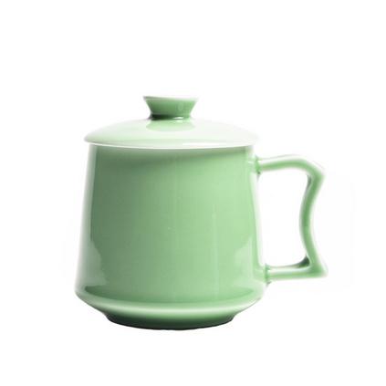 空山新雨 創意帶蓋陶瓷泡茶辦公杯 會議龍泉青瓷馬克杯禮品杯定制