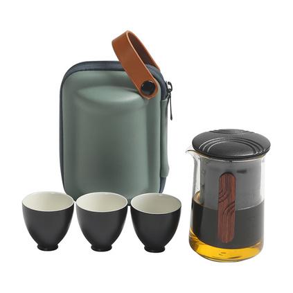 大潤窯 夫子快客收納便捷旅行茶具耐熱玻璃旅行茶具套裝定制