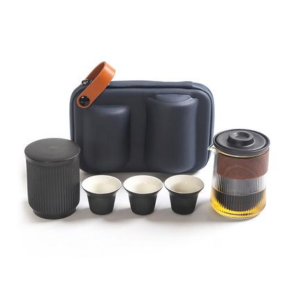 大润窑经纬旅行茶具套装带茶叶罐玻璃陶瓷便携式旅行功夫茶具定制