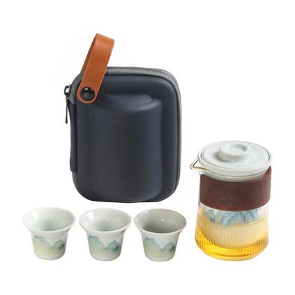 大潤窯千山影青快客收納茶具便攜式玻璃陶瓷旅行茶具套裝定制