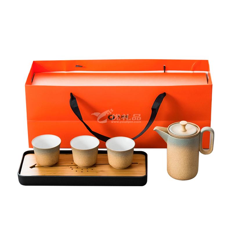 大润窑 粗陶尚居居家套组渐变色一壶三杯带干泡盘礼盒茶具套装定制