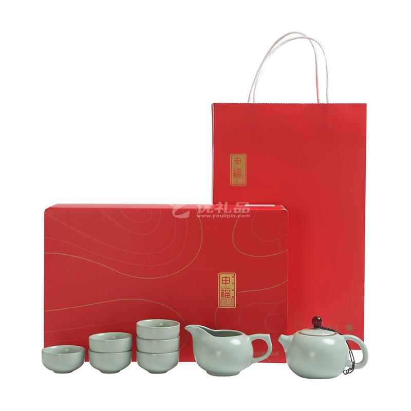 大润窑 名窑古瓷红顶汝窑西施壶8件套茶具礼盒套装定制