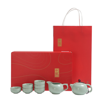 大潤窯 名窯古瓷紅頂汝窯西施壺8件套茶具禮盒套裝定制
