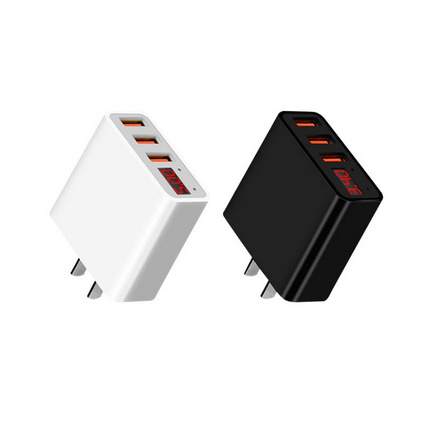 3口數顯旅行充電器 智能斷電快充3.4A多口usb手機充電頭定制