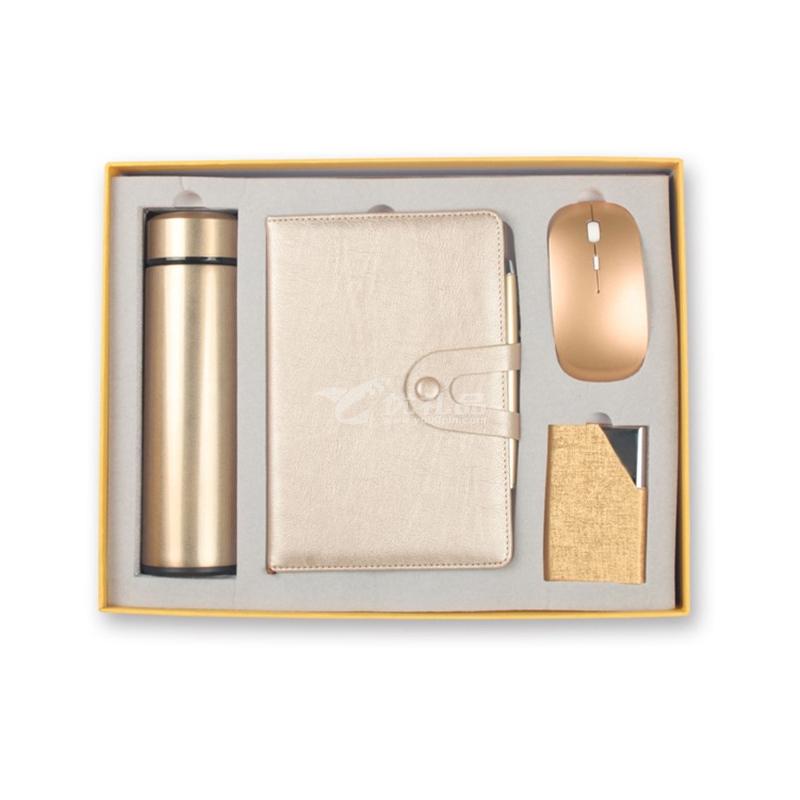 记事本商务礼品套装 保温杯+手账本+名片夹+鼠标+笔企业会议礼品五件套定制