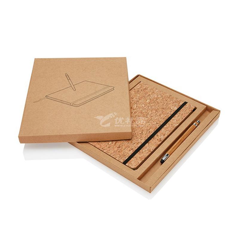 软木本子套装牛皮纸盒包装商务笔记本子A5记事本学生笔记本定制