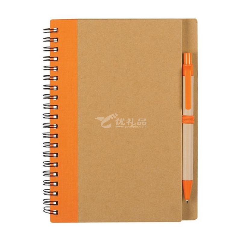 环保牛皮纸记事本 牛皮纸布料拼接封面 笔记本含笔会议记事本子定制