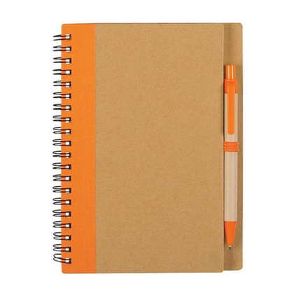 環保牛皮紙記事本 牛皮紙布料拼接封面 筆記本含筆會議記事本子定制