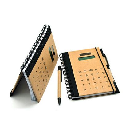 創意計算器 牛皮紙封面記事本便簽本工作記錄本會議記錄本定制