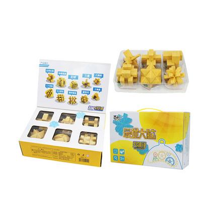 木纹版孔明锁鲁班锁礼盒套装 益智儿童玩具定制