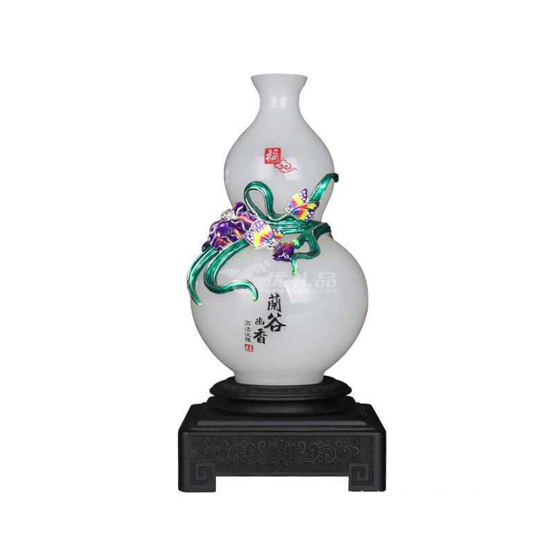 琉璃白玉花瓶摆件 珐琅彩玉石中式家居装饰 商务庆典开业礼品定制