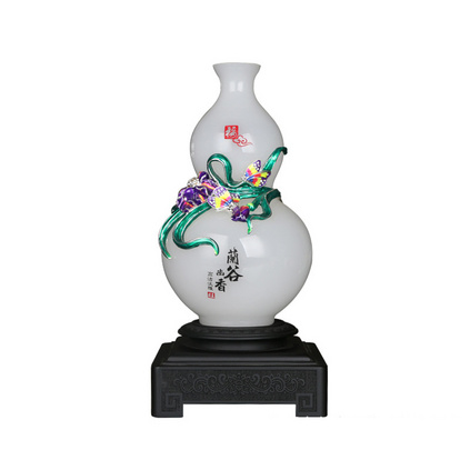 琉璃白玉花瓶擺件 琺瑯彩玉石中式家居裝飾 商務慶典開業禮品定制