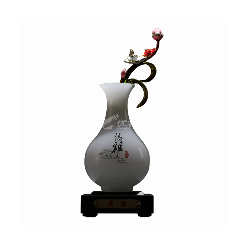 琉璃玉琺瑯彩花瓶 家居室內玉石擺件定制