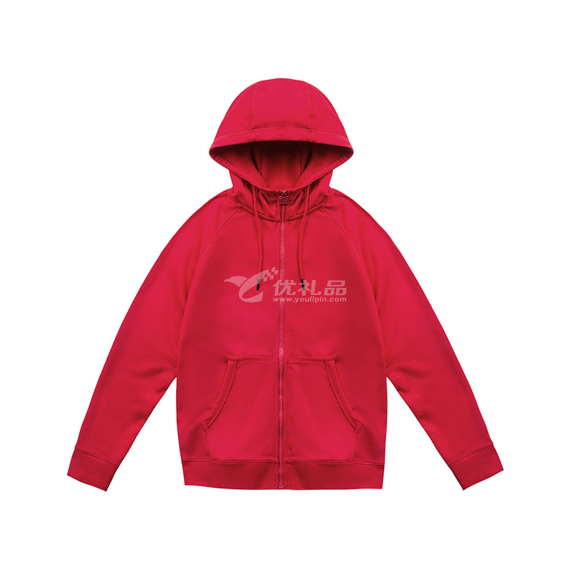秋冬新款350g純色長袖衛衣 連帽拉鏈衛衣定制