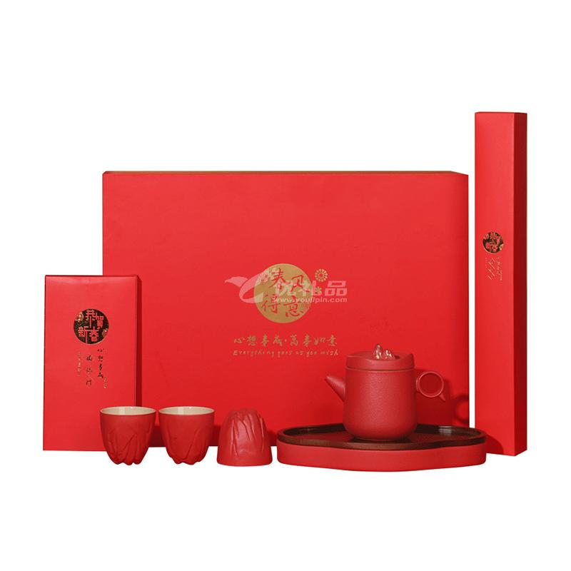 新春黑陶茶具套裝粗陶茶具觀山描金便攜式茶具套裝定制