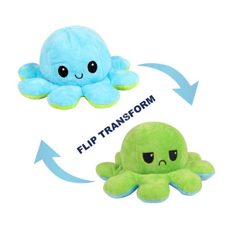 翻轉章魚娃娃公仔翻面章魚雙面表情可逆章魚毛絨玩具定制