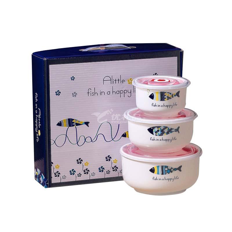 陶瓷保鮮碗三件套密封促帶蓋微波爐適用保鮮盒定制